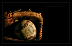 America's Favorite (J Michael Hamon) Tags: baseball glove mit blackbackground lowkey dark light lighting shadow photoborder vignette hamon nikon d7100 nikkor 1855mm sport stilllife fractal fractalius closeup