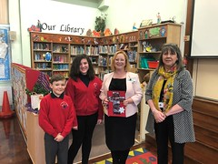 Receiving a lovely handmade gift from pupils at St John the Evangelist School