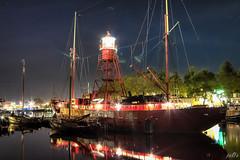 City harbour Den Helder (4) (pe0s, Steven) Tags: denhelder willemsoord night harbour haven port lightship ship vuurtoren lighthouse texel lichtschip schip stadshaven hdr