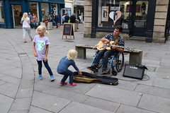 DSC_0032 (richardclarkephotos) Tags: simon john from cornwall guitar busking tour south england bath somerset uk spotty herberts signwriting guitarbitz cafe shops small retailers guildhall marketowl owls minerva