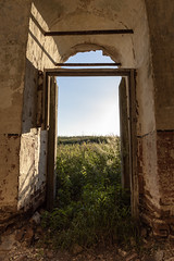 Abandoned Church. (Oleg.A) Tags: grass landscape sunny ancient penzaregion russia church nature old brick ruined outdoor rural materials dome building chapelle countryside summer abandoned tower exterior sunset forest orthodox evening sky cross wall village architecture field chapel landscapes outdoors napolnyyvyas penzenskayaoblast ru
