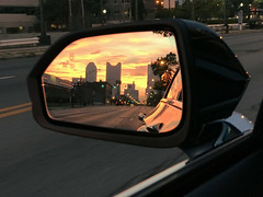 columbus rearview sunrise (brown_theo) Tags: columbus ohio mirror rear view skyline dawn sunrise franklinton westbroad