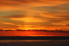 Oh, Look!  A Sunset! (David K. Edwards) Tags: sunset orange dull boring tedious uninspiring uncreative yawn snore drool sleep ship navy cargo horizon