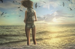 what we all want in life, to travel, fall in love and be happy... (Cataleya.) Tags: beach cataleya dreamy back beauty brunette seagulls sea waves summer sun birds outdoor ocean digitalpainting virtualworld secondlife sl avatar intoxx rickgenest toxxgenest