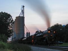 Evening Iowa Bolt (Elijah J. Jackson (EJ)) Tags: iais iowainterstaterailroad iais6988 chinarailways qj steam smoke steamlocomotive night nightphotography grainelevator iowabolt train locomotive