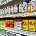 Shelves display of assorted packaged food seasonings