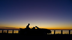 Checking out Twilight (ramseybuckeye) Tags: twilight sunset sky water mustang people ford silhouette bresler reservoir