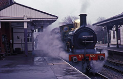 Bluebell Railway ex SECR 0-6-0 592 with a morning service from Sheffield Park to Kingscote on a mucky day in March 1996. (mikul44171) Tags: 592 secr sheffieldpark inclement badweather inclementweather steam stationawnings 060 brassdome cold chilly spring