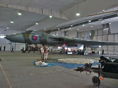 Almost all of Vulcan XL426 inside Hangar 6, Southend Airport 11.06.17 (Trevor Bruford) Tags: vrt vulcan restoration trust xl426 southend airport avro nuclear bomber cold war plane jet aircraft airplane aviation raf tin triangle delta lady royal air force
