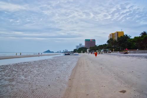 Cloudy morning on the beach in Hua Hin, Prachuap Khiri Khan, Thailand