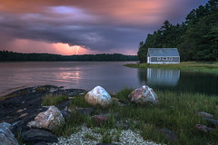 Skolfield Shores Thunderstorm (BenjaminMWilliamson) Tags: bolt coast harpswell image landscape lightning me maine newengland ocean photography reflection scenery scenic skolfieldshores storm stormy thunderstorm twilight usa weather
