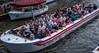 2018 - Belgium - Gent - Canal Boat (Ted's photos - For Me & You) Tags: 2018 belgium cropped ghent nikon nikond750 nikonfx tedmcgrath tedsphotos vignetting people boat cruiseboat ghentbelgium gent glasses sunglasses groupphoto red redrule