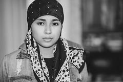 GM Portrait (hoffler_pictorials) Tags: hofflerpictorials sonyfeequipment sonyemountlenses denim jacket pretty blackandwhite scarf teen young girl portrait