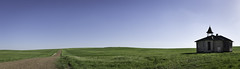 20180530.untitled 1395-Pano (Flint Roads) Tags: nd northdakota usa abandoned blue bluesky clouds deteriorated field forsaken grass green old prairie road rural school schoolhouse