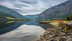 Norwegian fjord (Dan Österberg) Tags: fjord lake water reflection landscape hut cabin boathouse mountains nature scenery summer norway fjordnorway norge hordaland