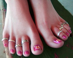 bejeweled toes! (pbass156) Tags: barefoot bare feet foot footfetish fetish toes toefetish toepolish paintedtoes pedicure pedi teasing sexy jewels toering bejeweled