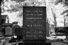 W.B. Yeats (Infrakrasnyy) Tags: sony alpha nex 5n ir infrared full spectrum converted conversion bw 093 black white colorless monochrome ireland sligo erie drumcliffe graveyard graves cemetery headstones tombs death somber wb yeats william butler poetry