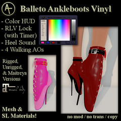AT Balleto Ankleboots Vinyl (Anima Temptation) Tags: at ballet heel boot kinky bondage bdsm leather sl secondlife stiletto animatemptation