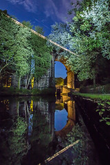 Train on Brownhills Viaduct - Uppermill - Saddleworth (Craig Hannah) Tags: uppermill brownhills viaduct train light lighttrails trees canal huddersfieldcanal bridge longexposure nightsky stars lightpainting reflection sky dusk craighannah august 2018 westriding yorkshire oldham greatermanchester england uk canon photography photos clouds brownhillviaduct railway still dobcross lock