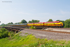 KCS Office Car Special at Hartford (tim_1522) Tags: railroad railfanning rail illinois il unionpacific up kansascitysouthern kcs officecarspecial ocs fp9a f9b emd passenger interlocking springfield sub subdivision bridge water steel
