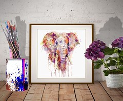 Elephant Head (marianv2014) Tags: elephant watercolor watercolour watercolorpainting wallart fineart walldecor animals wildanimals african splashes splatters drippingpaint aquarelle pink purple orange head watercolorposter elephantdecor roomdecor artgifts affordableart wildlife savanna africa india indiananimals mammals bigmammals moderndecor elephanttusks illustration artwork art colorful beautiful whitebackground contemporary wild zoology single decor charming