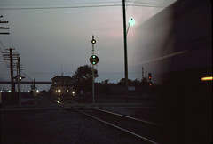 Headlight Meet (erik_coleman) Tags: railroad train engine tower signal cpl tuscola il csxt u18b twilight night decatursub