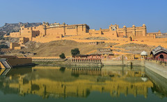 Amber Fort in Jaipur, India (phuong.sg@gmail.com) Tags: amber amer ancient architecture asia asian attraction building castle city culture destination famous fort fortification fortress heritage hill historic historical india indian jaipur lake landmark landscape monument mountain old palace rajasthan sandstone scenic sightseeing sky stone structure tourism tourist traditional travel unesco view wall