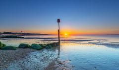 Avon Beach (nicklucas2) Tags: seascape beach isleofwight solent sea sand seaside seagull lowtide avonbeach mudeford dorset sun sunrise mist