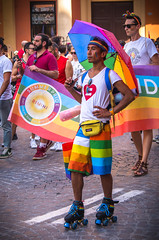 Like a superhero (damar47) Tags: pentax pentaxiani pentaxian da50200mm street urban pride gaypride lgbt bologna italy italia reflex colorfull colors color streetstyle candid documentary parade people stranger portrait ritratto happiness ricoh streetphotography city skater funny proud