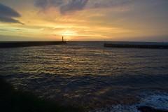 Dusk at the harbour mouth (karen leah) Tags: sunset dusk nightfall sky clouds beauty colour nature outdoors sea coast aberystwyth tanybwlch