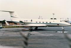 XA-MEY at LGW August 1982 (Scan) (chrysanyo) Tags: lgw mexico g3 gulfstream