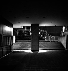 #262 Column and steps (tokyobogue) Tags: tokyo japan shibuya 365project nexus6p nexus blackandwhite blackwhite monochrome night dark pillar column concrete steps wall urban