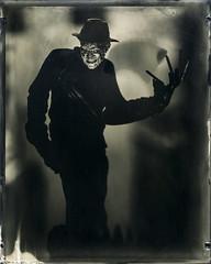 1, 2, He's Coming For You (Blurmageddon) Tags: 4x5 largeformat alumitype oldworkhorsecollodion bostickandsullivan moderncollodion osakafieldcamera vw45fc 85inchkodakcommercialektar freddykrueger horror toy actionfigure tachihara epsonv700