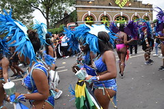 DSC_8382 Notting Hill Caribbean Carnival London Exotic Colourful Blue and Silver Costume with Ostrich Feather Headdress Girls Dancing Showgirl Performers Aug 27 2018 Stunning Ladies (photographer695) Tags: notting hill caribbean carnival london exotic colourful costume girls dancing showgirl performers aug 27 2018 stunning ladies blue silver with ostrich feather headdress