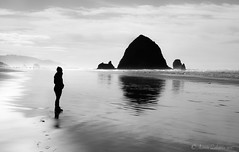 The Rock (EyezOfAChild) Tags: cannonbeach haystackrock blackandwhite oregoncoast melissa