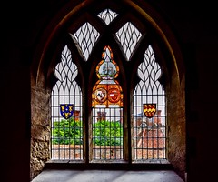 Sir Roger de Somervile Window (rustyruth1959) Tags: heraldry coatofarms shield southaisle shrub wall stonework memorial chimneys burtonagneshall indoors founder 12thcentury colouredglass stainedglass wife knight maud rogerdesomervile stainedglasswindow window religiousbuilding church stmartinschurch burtonagnes burtonagneschurch yorkshire england uk tamron16300mm nikond5600 nikon alamy