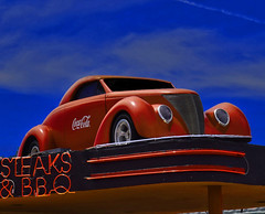 Get Your Kicks on Route 66 (oybay©) Tags: 1938ford roadster coupe wild cherryred cherry red restaurant color colors colorful vivid unique neon sign williams arizona route66 roof steaksandbbq classic zztop sky clouds az williamsarizona 1937 ford custom car show photography automotive outdoor vehicle