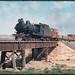 Hawker line - South Australia loco SAR T44 on freight crossing bridge - NCS463 + NG class open wagons + Brake CR NYAB15 (mb-s001-09)