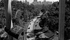 """""""What the world needs now is... (Rand Luv'n Life) Tags: odc our daily challenge continuous love peace lock cabrillo bridge balboa park san diego california downtown skyline 163 freeway view cars monochrome blackandwhite outdoor"""