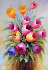 Tulips Draft, Art Painting / Oil Painting For Sale - Arteet™ (arteetgallery) Tags: arteet oil paintings canvas art artwork fine arts flower bouquet spring floral pink blossom bloom nature beautiful gift fresh green background bunch leaf flowers plants still life yellow paint