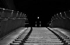 Stairway in the moonlight (cammino5) Tags: nachtaufnahme treppe zaun mond august 2018 sw