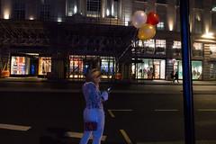London (jaumescar) Tags: street balloon color night photo girl city urban road birthday low light red yellow white nightlife london british style