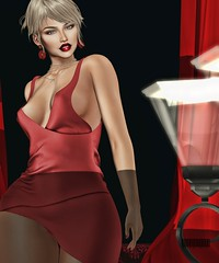 The Red Girl (Milena Inaka ♥) Tags: noir lop vanity event backdrop earring necklace blogger slblog blogsl secondlife