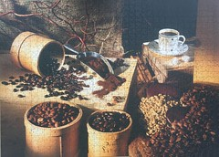 Coffee grains and coffee powder (touring_fishman) Tags: jig saw jigsaw coffee spain september 2018 beans cup saucer table brown aldi 1000 pieces cstockfood