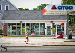 Market Friday Milford Shops Citgo and a runner (Singing With Light) Tags: 2018 29th a7iii marketfriday milfordct mirrorless singingwithlight sonya7iii summer july photography shopswednesdaywalk singingwithlightphotography sony thegreen trees