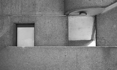 Squares² (James-Palmer) Tags: london england britain english british uk gb capital cityoflondon stairs stairwell concrete urban abstract balustrade balcony door entrance square block blocks cement construction built building construct constructed new modern modernism modernist 1960s 1970s brutalism casted cast architect architecture minimalism minimal geometry geometric international blackandwhite exit city