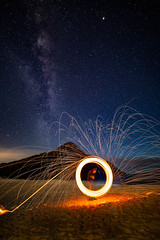The all seeing eye || Zenith Beach (David Marriott - Sydney) Tags: shoalbay newsouthwales australia au zenith beach nelson bay port stephens steel wool spinning night milky way long exposure eye mountain sand