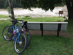 Ohiopyle SP ~ overlooking the Yough (karma (Karen)) Tags: ohiopyle pennsylvania ohiopylestatepark youghioghenyriver rivers benches bikes hbm iphone cmwd