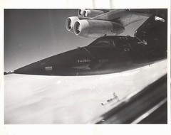 X15_v_bw_o_n (Walker - 25 MAR 60 flt, original 1961/62? photograph) (apollo_4ever) Tags: airdataboom noseboom wingpylon dangerejectionseat auxiliarypowerunit apu apuexhaust thechallenger thehighandmightyone balls3 balls8 northamericanx15 josephalbertwalker researchaircraft rightstuff pushingtheenvelope rcsthrusters reactioncontrolsystemthrusters nb52b nacelle nacelles enginenacelle enginenacelles civiliantestpilot josephwalker nasapilot testpilot nasatestpilot hypersonicaircraft hypersonic highaltitude highaltitudeaircraft josephawalker b52b chaseplane chaseaircraft f100 f100supersabre bewareofblast nasameatball 566670 usaf usafaircraft northamericanaviation testflight b52 joewalker glossyphoto blackandwhite x15 spaceplane nasaspacecraft nasa
