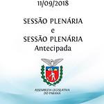 Sessão Plenária e Sessão Plenária Antecipada 11/09/2018